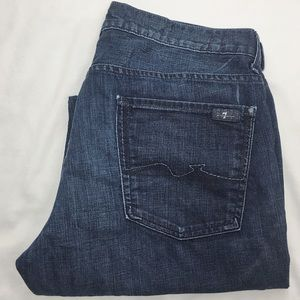 7FAM Relaxed Fit Dark Wash Jeans 34x33